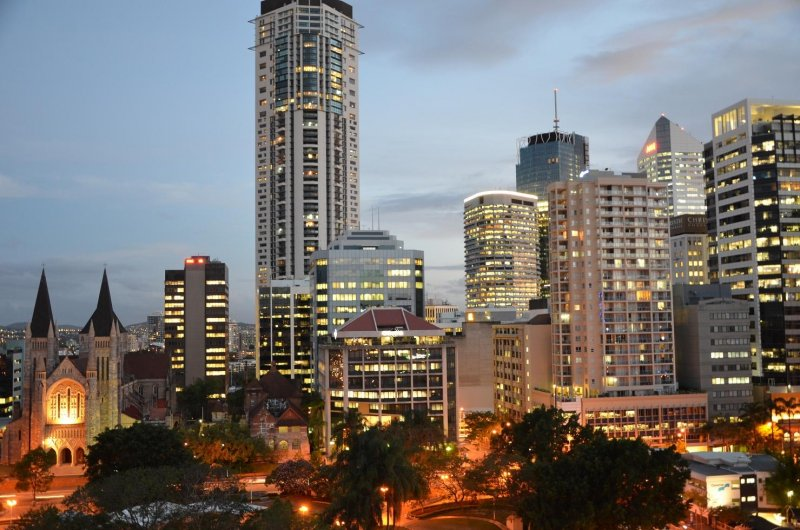 View of Ann Street and Brisbane CBD from Frisco Apartments at sunset