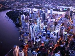 Aerial view of Brisbane CBD, Brisbane River and Southbank at sunset